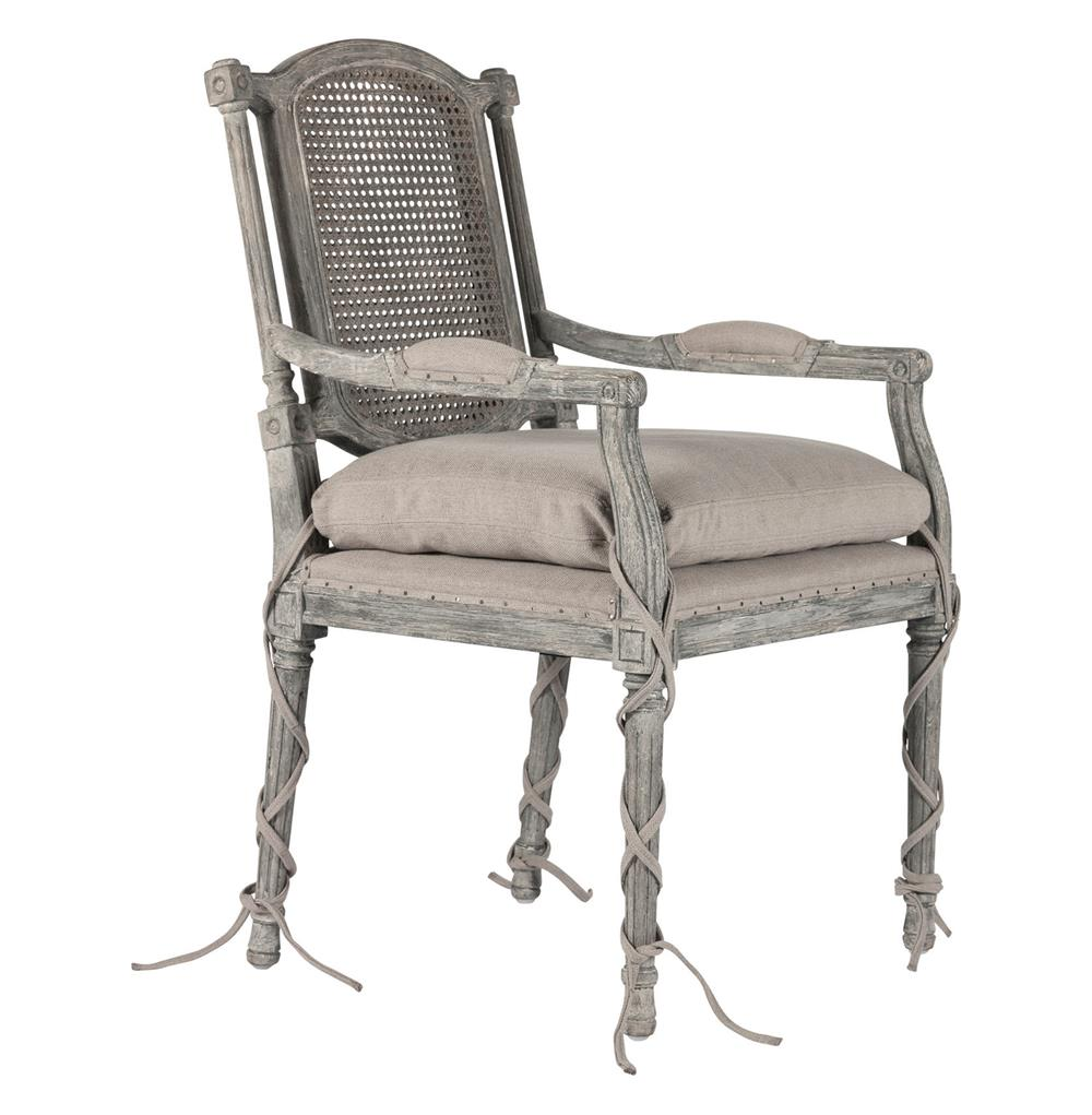 Ferrel Antique Grey Shabby French Ballet Ties Dining Arm Chair Kathy Kuo Home