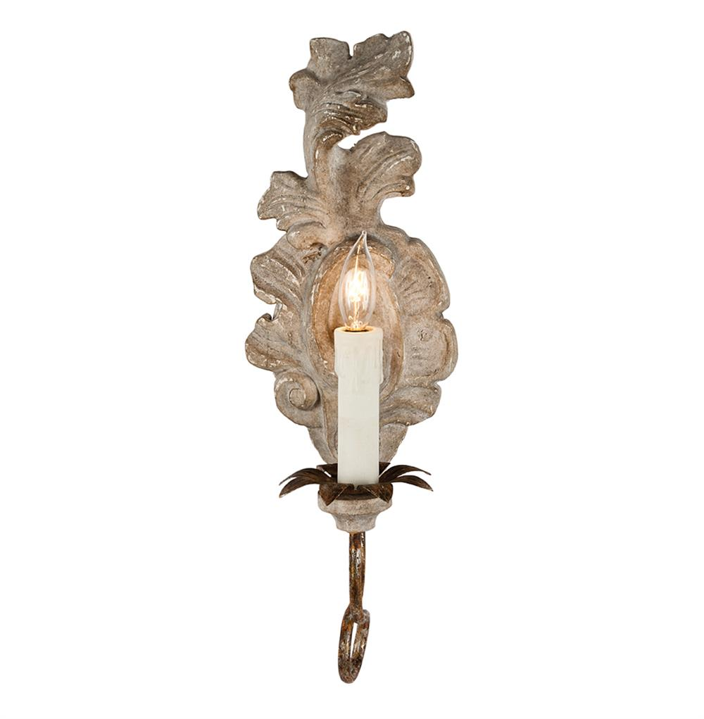 sc 1 st  Kathy Kuo Home & Verdure French Country Carved Wood Leaf Wall Sconce | Kathy Kuo Home