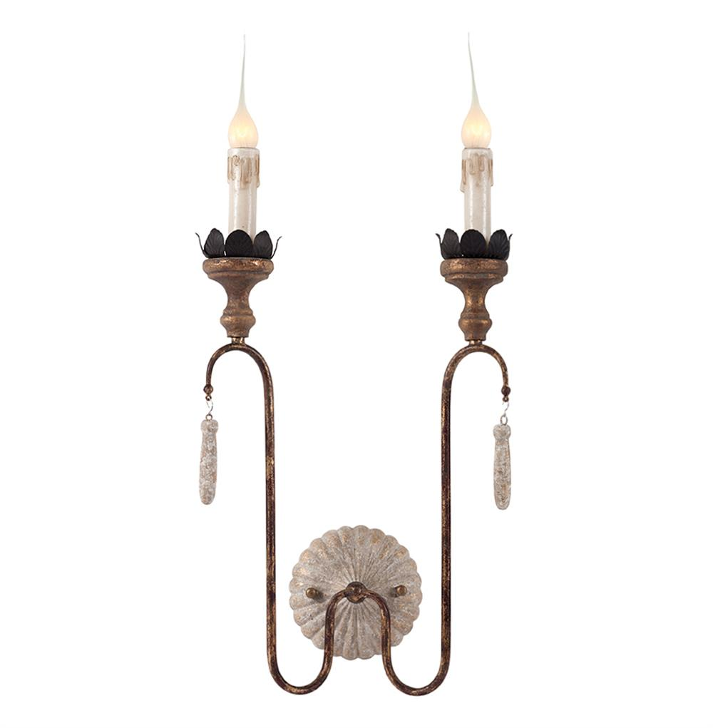 Joni 2 light shabby French simple wall sconce - a gorgeous lighting option for your French inspired home!