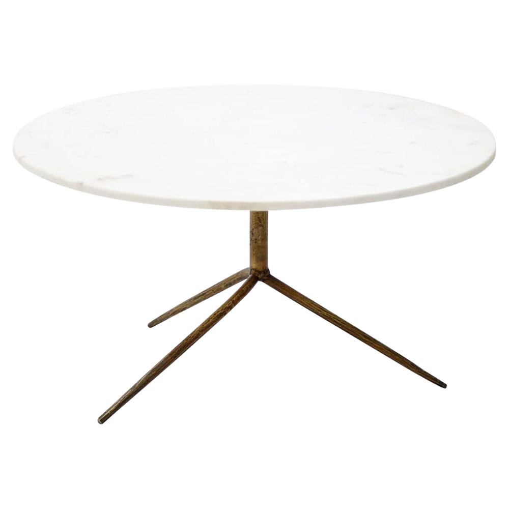 Serena Modern Round White Marble Top Gold Antique Brass Legs Coffee Table