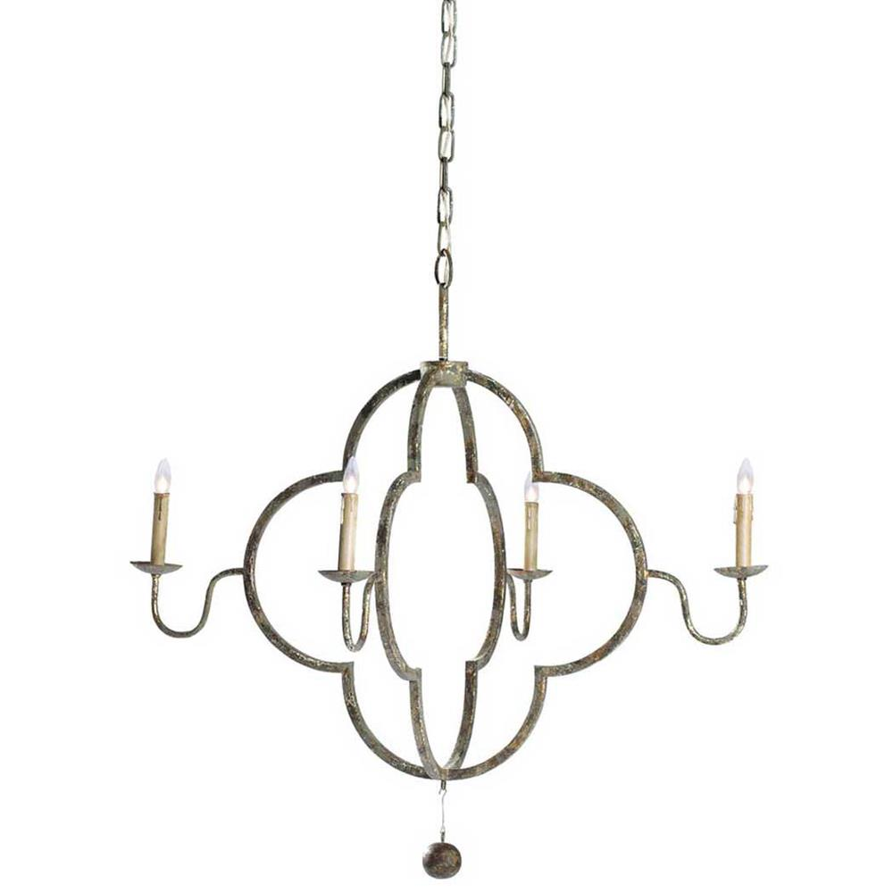 Lewis quatrefoil french country chipped gold chandelier kathy kuo home aloadofball Choice Image