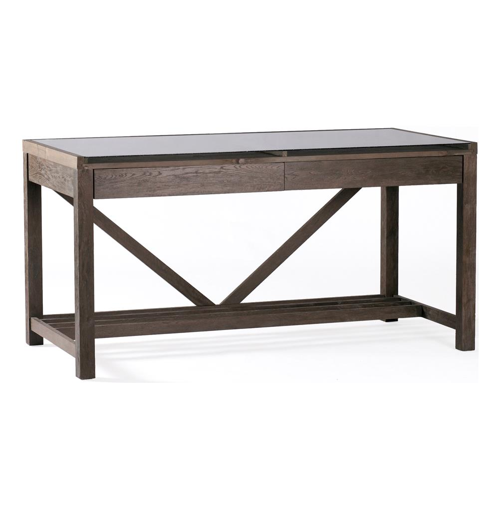 Modern Office Desk: Hunter Reclaimed Wood Chunky Rustic Modern Desk