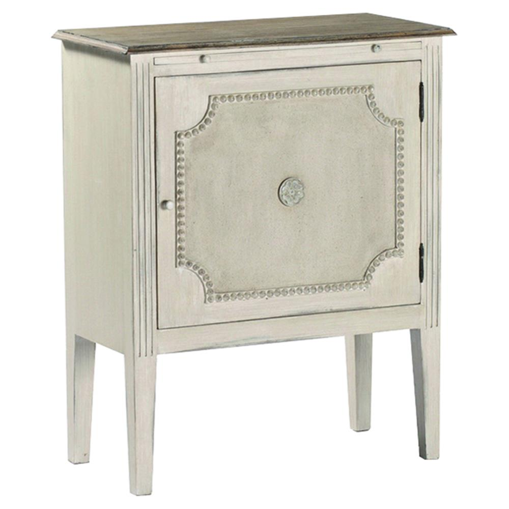 Chemin French Country Antique White Burlap End Table