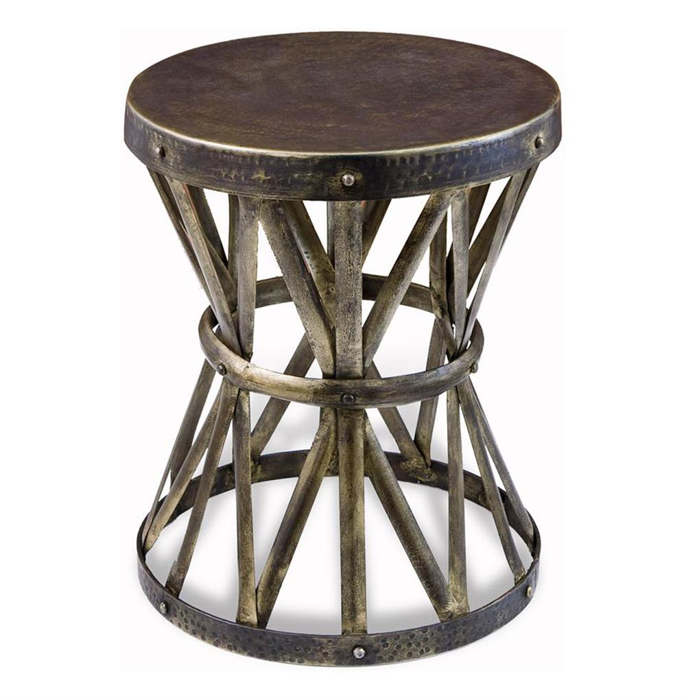 Zemico rustic hand forged hammered round side table for Rustic side table