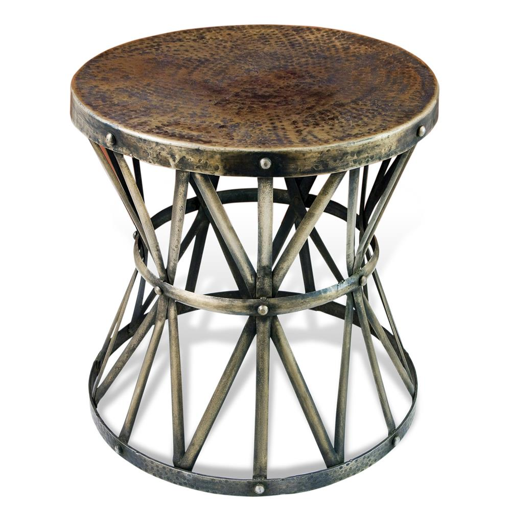 Iron Side Table ~ Zemico dark antique brass hammered rustic iron side table
