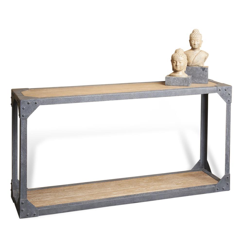 Rustic Iron Console Table ~ Jardin antique oak industrial loft rustic iron console