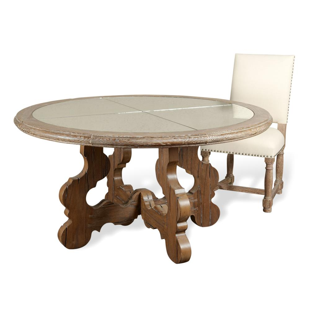 Winders antique mirror chunky carved wood round dining for Round dining table designs in wood