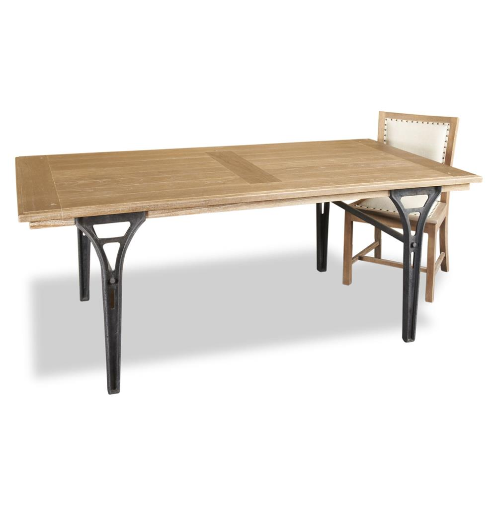 Frea industrial loft wood iron modern extendable dining for Iron dining table