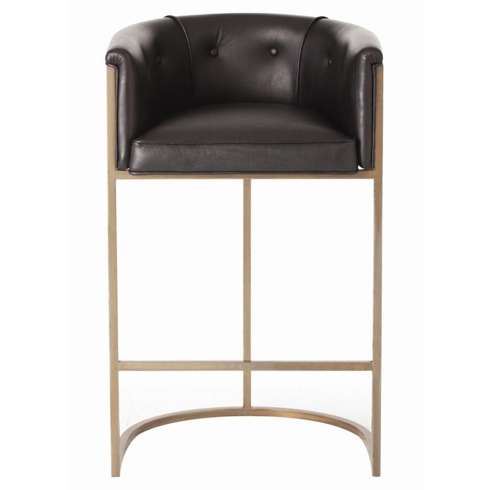 Calvin Top Grain Black Leather Art Deco Barstool Kathy