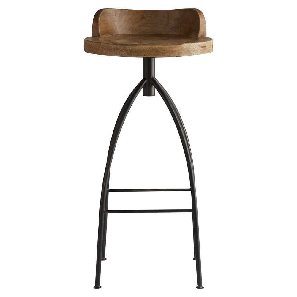 ... Industrial Loft Antique Wood Iron Swivel Bar Stool  Kathy Kuo Home