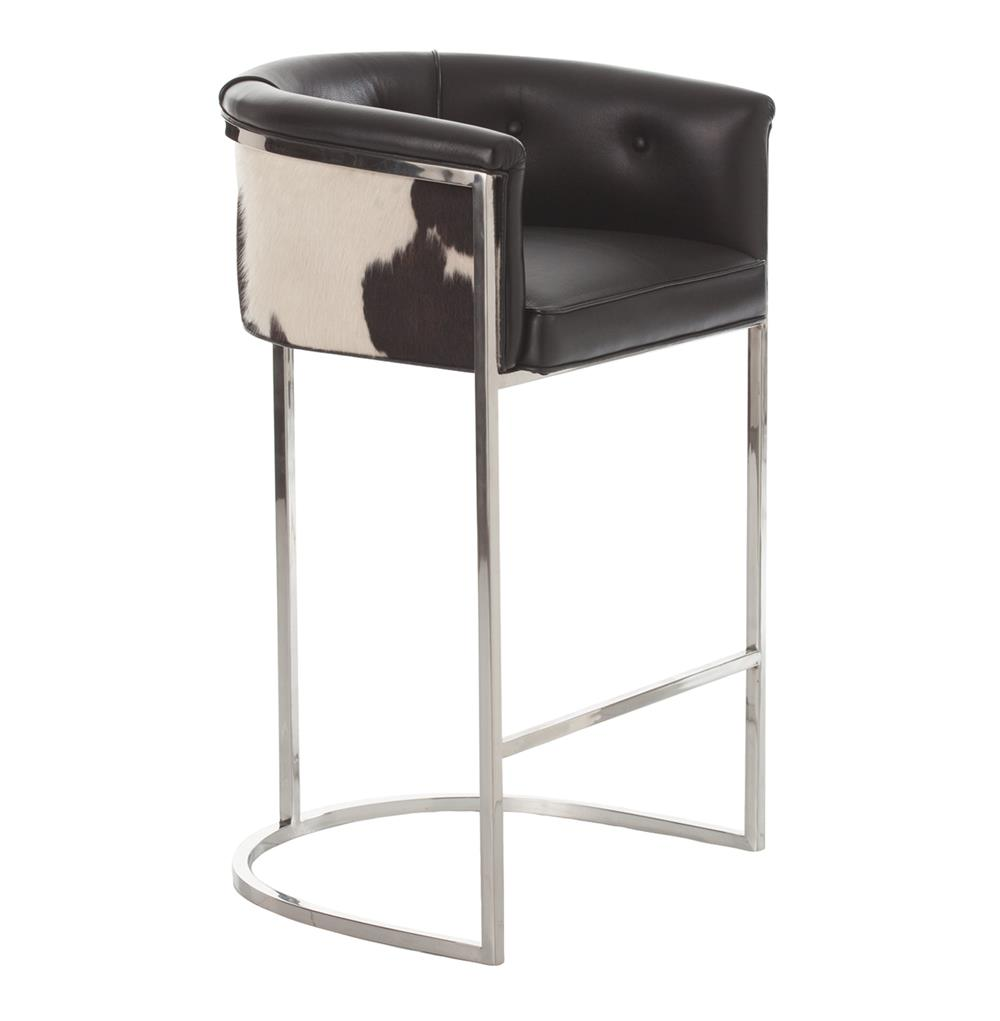 Calvin Top Grain Black Hide Leather Art Deco Barstool