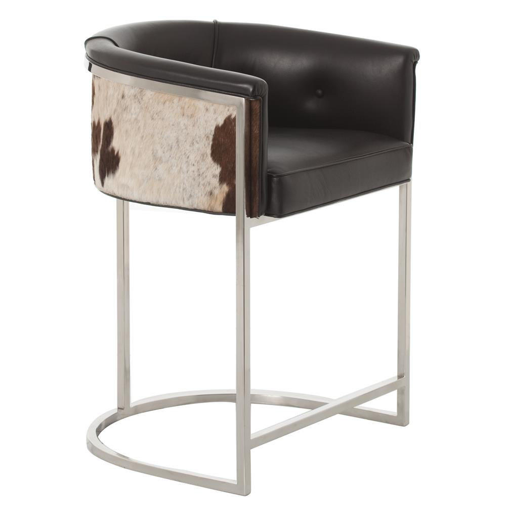 Calvin Top Grain Black Hide Leather Art Deco Counter Stool : Kathy Kuo Home