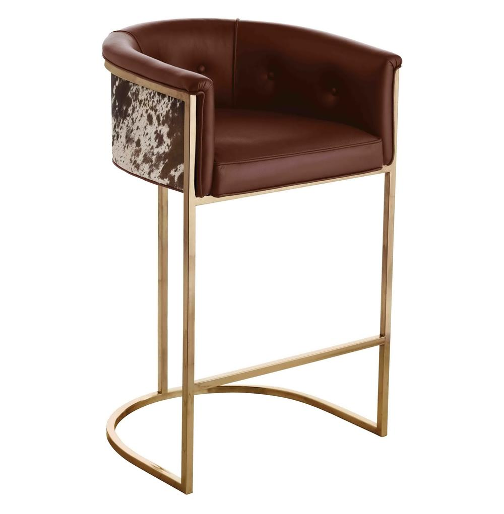 Calvin Top Grain Brown Hide Leather Art Deco Barstool Kathy Kuo Home
