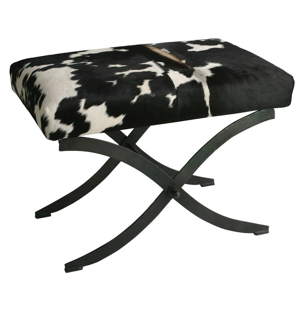 Hugo Iron Black White Hide Contemporary X Base Bench Kathy Kuo Home