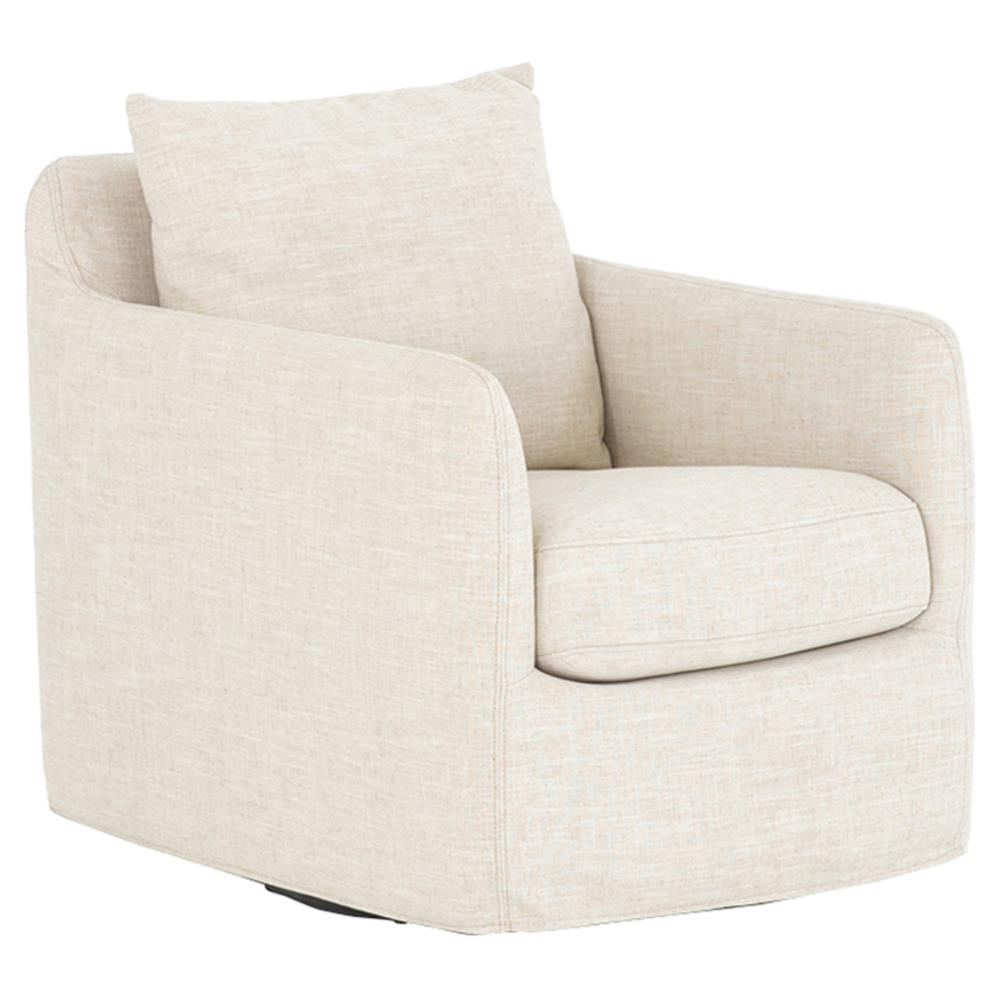 Aimee modern classic ivory upholstered swivel sofa living - Modern upholstered living room chairs ...
