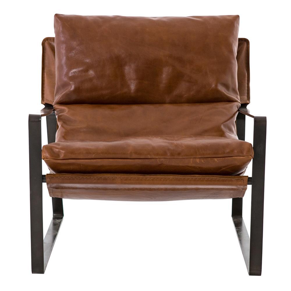 David Modern Classic Dark Brown Leather Black Metal Arm Chair