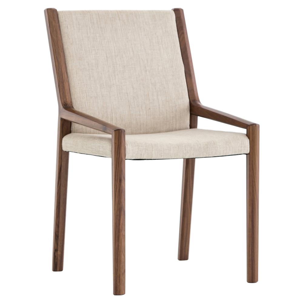 Bret mid century ivory linen upholstered walnut wood dining chair kathy kuo home