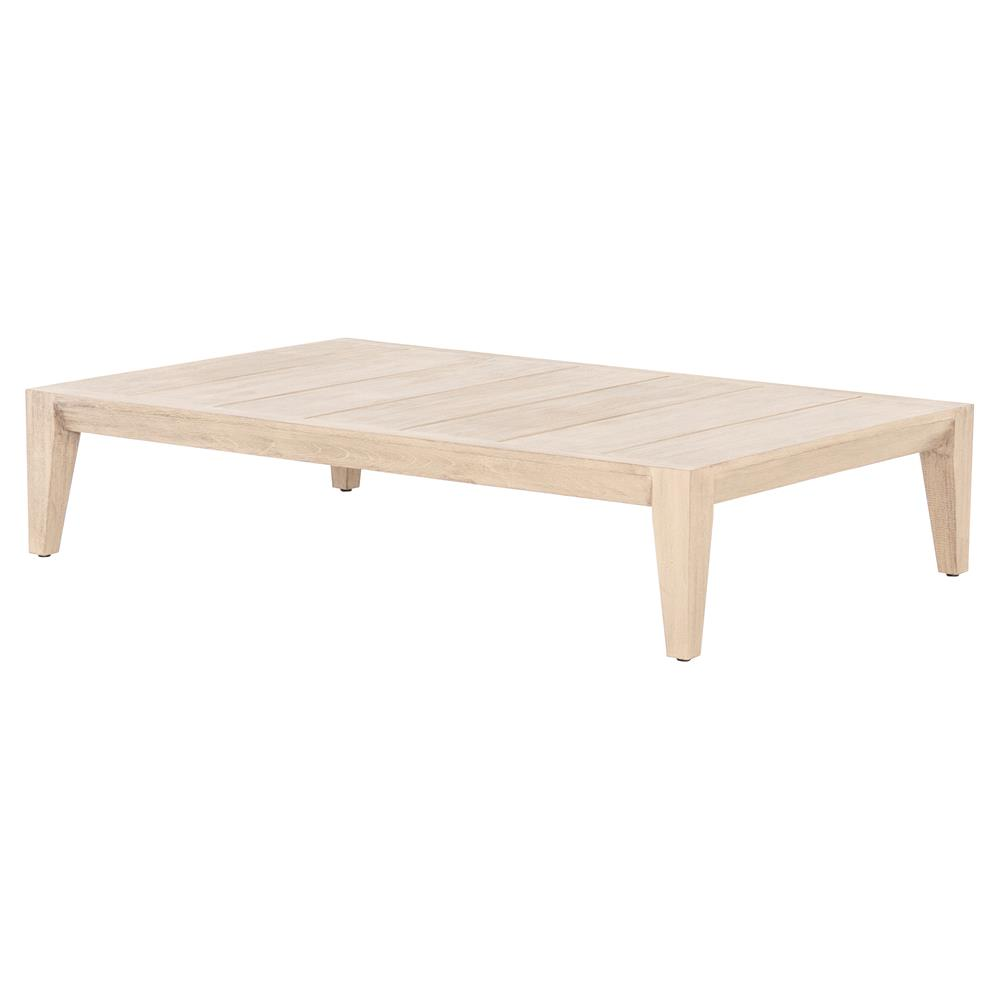 Carla Coastal Beach Rectangular Low Style Washed Brown Outdoor Coffee Table Kathy Kuo Home