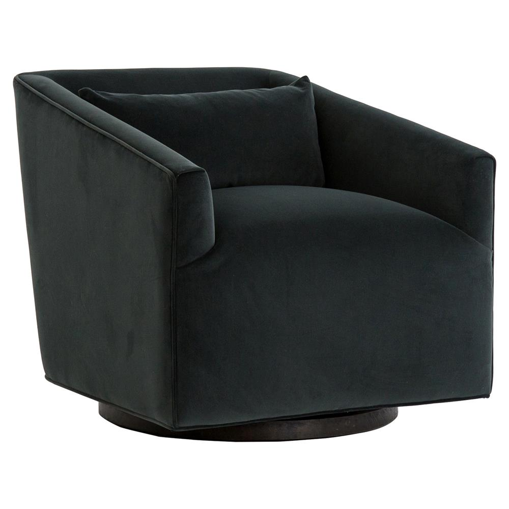 Daire modern smoke velvet upholstered square swivel living - Modern upholstered living room chairs ...