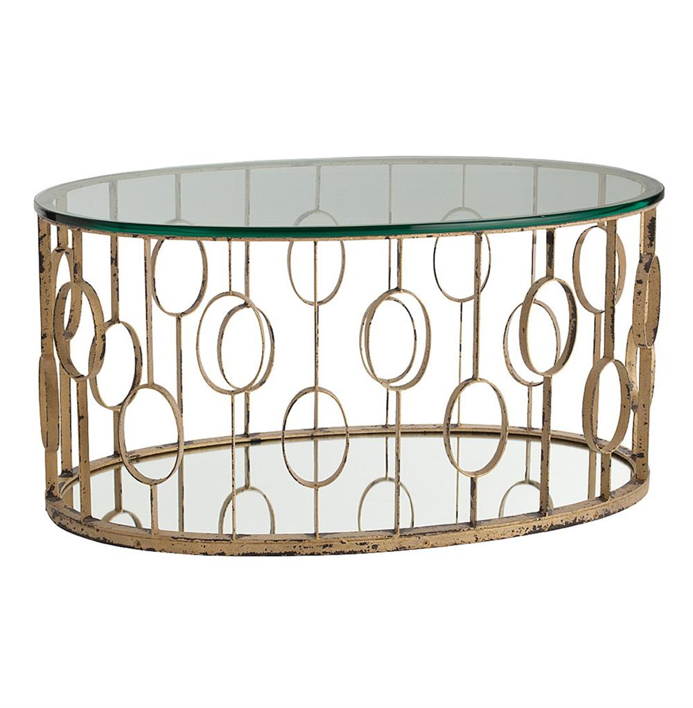 Oval Hollywood Regency Circle Gold Leaf Coffee Table Kathy Kuo Home