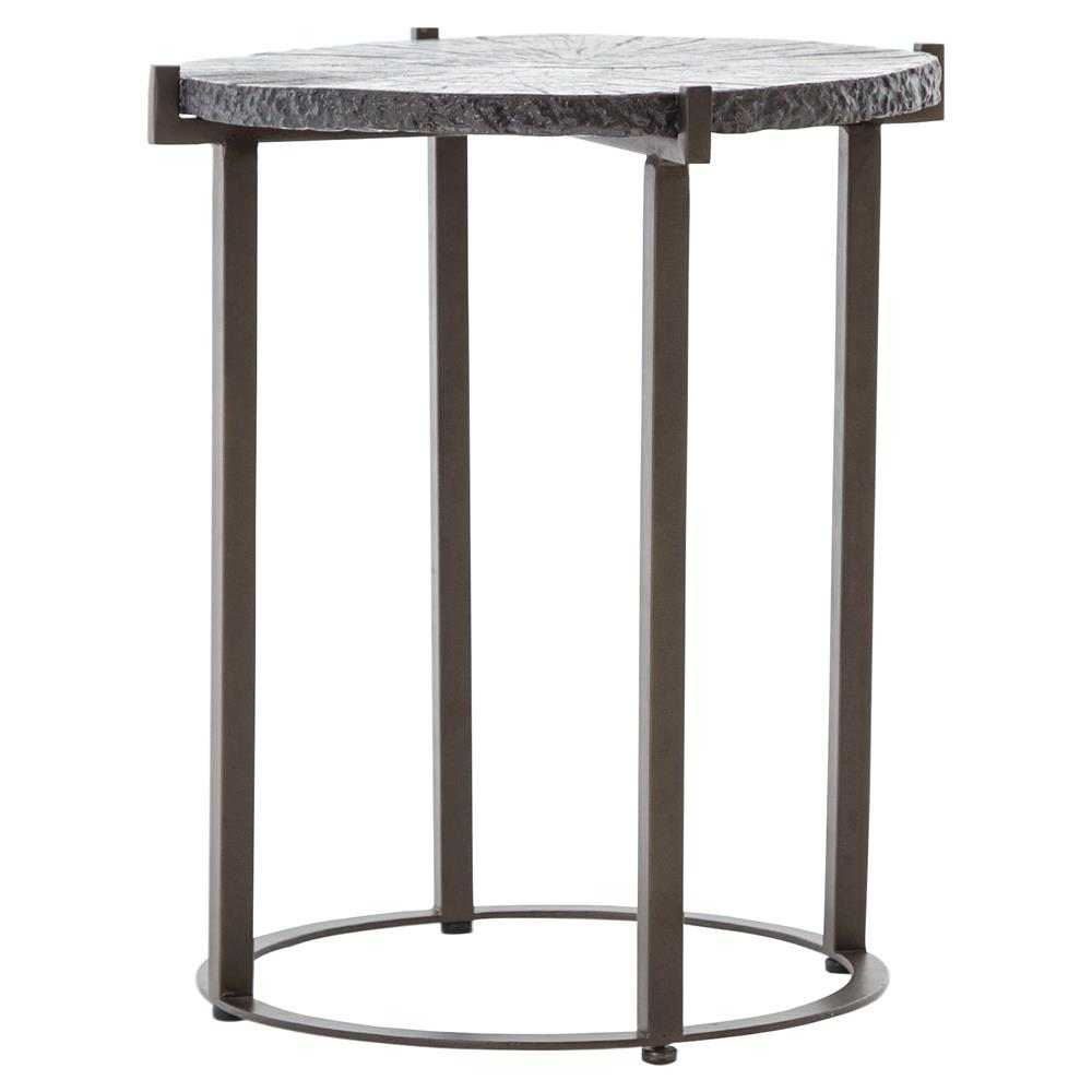 Randy Industrial Loft Round Textured Black Top Sturdy Legs Side End Table |  Kathy Kuo Home ...