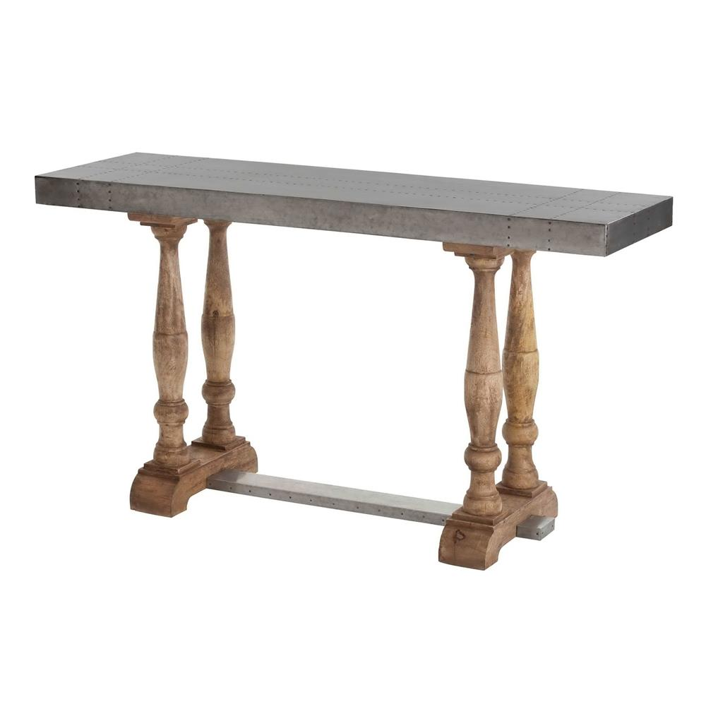 Winfred industrial steel reclaimed wood trestle console for Metal and wood console tables