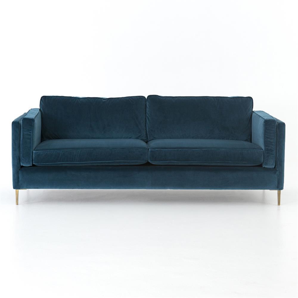 Xena Mid Century Modern Blue Velvet Upholstered Gold Metal Legs Sofa