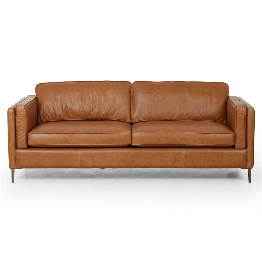 Mid Century Modern Bonded Leather Living Room Sofa Camel: Xena Mid Century Modern Camel Leather Upholstered With