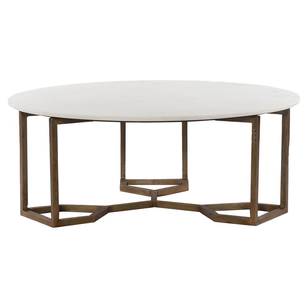 Gold Coffee Table With Stone Top: Zia Modern Geometric Gold Frame Round White Marble Top