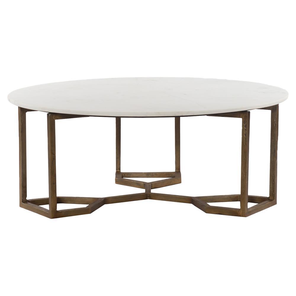 Zia Modern Geometric Gold Frame Round White Marble Top Coffee