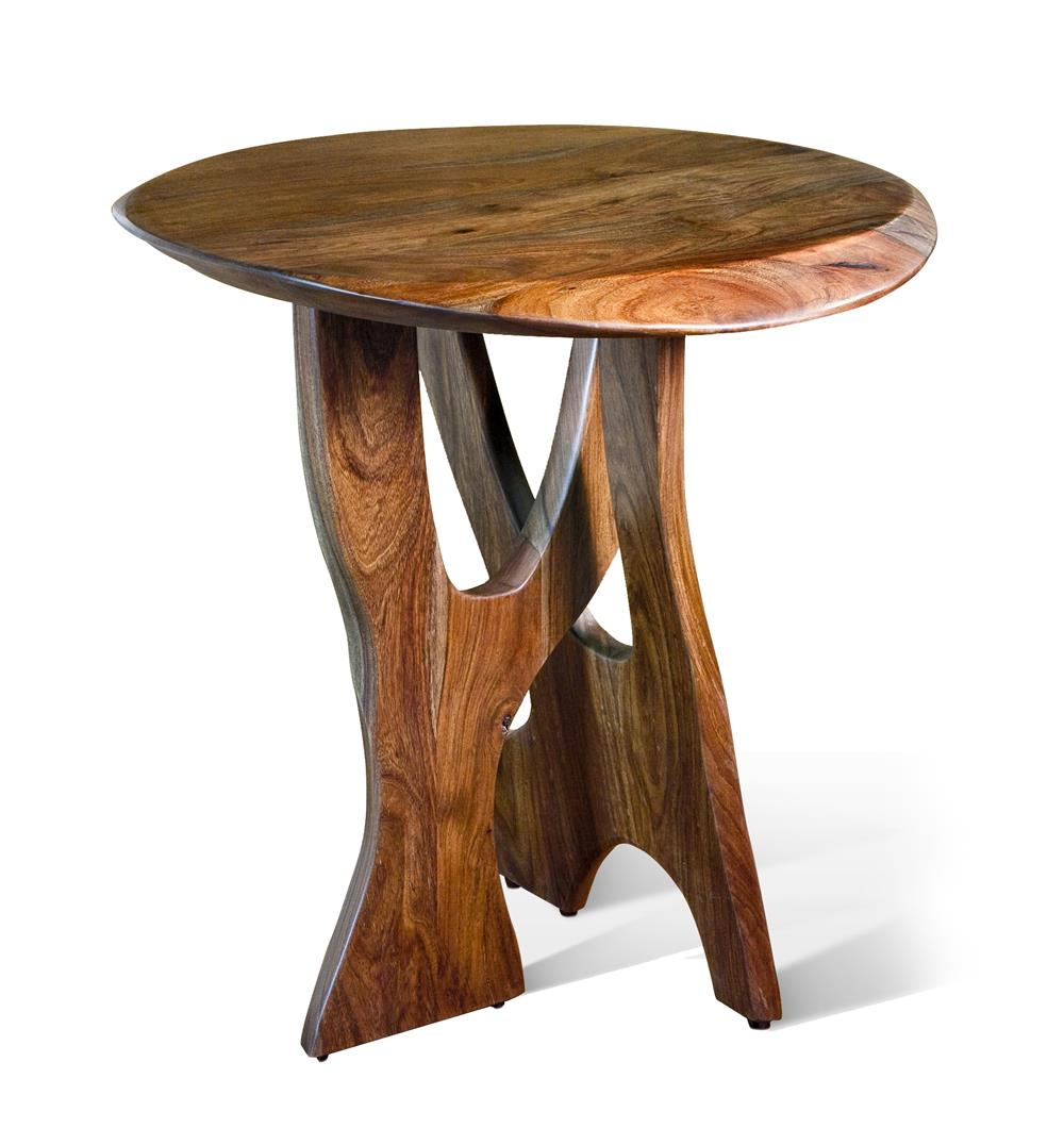 Wittenberg modern rustic solid walnut round side table Modern side table
