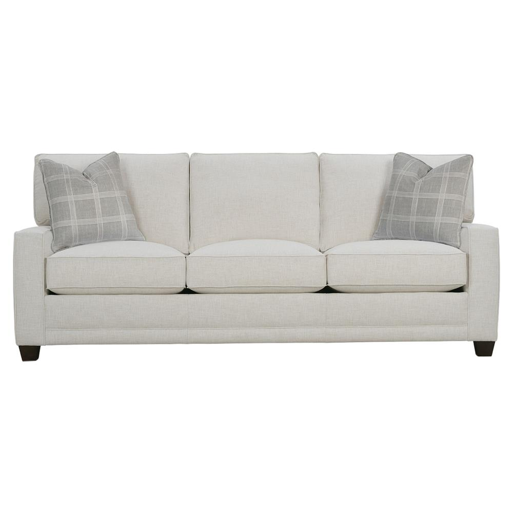 Keira Modern Classic White Upholstered Track Arm 3 Cushion Sofa