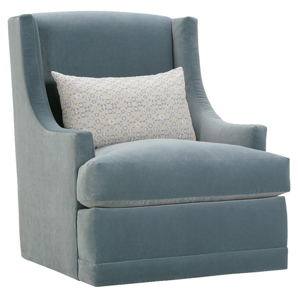 Lottie Modern Classic Blue Upholstered Swivel Arm Chair ...