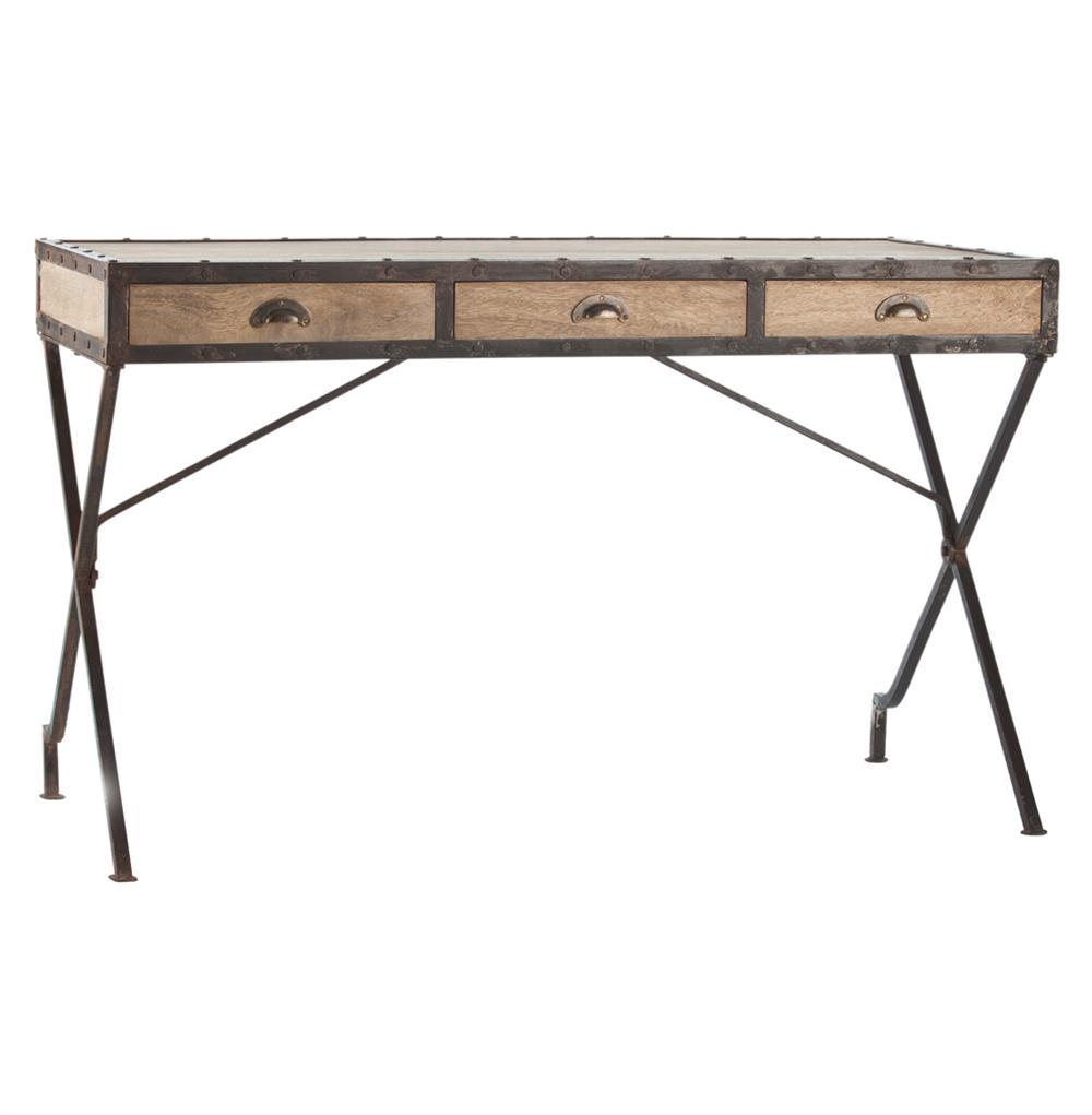 Modern Rustic Reclaimed Wood Iron Rivet Campaign Desk ...
