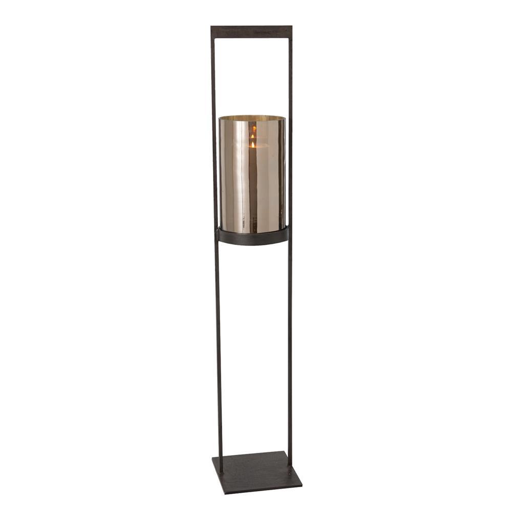 Egan Modern Mercury Glass Iron Hurricane Candle Holder