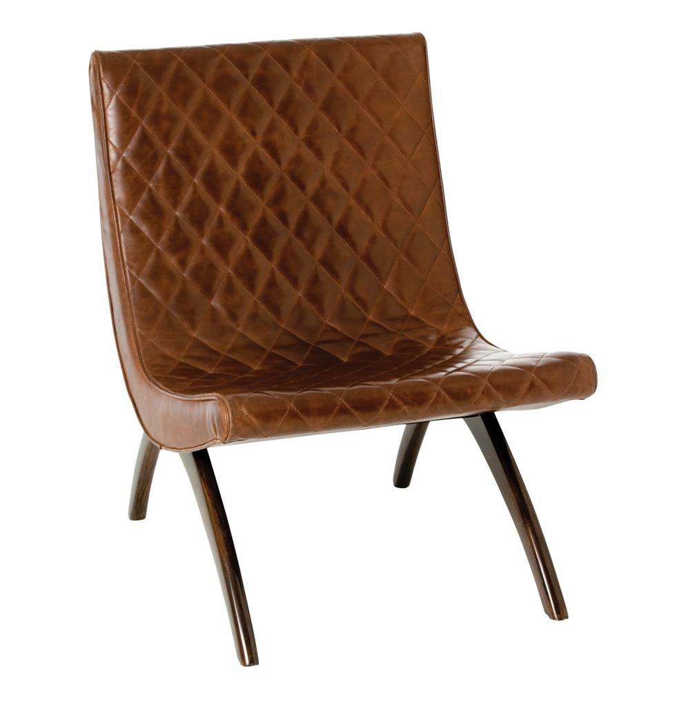 Danforth Mid Century Modern Chestnut Quilted Leather Chair | Kathy Kuo Home