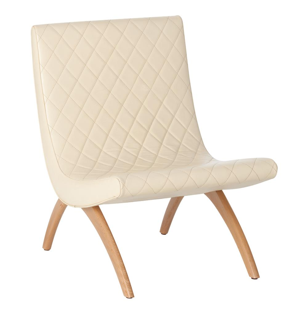 Danforth Mid Century Modern Ivory Quilted Leather Chair