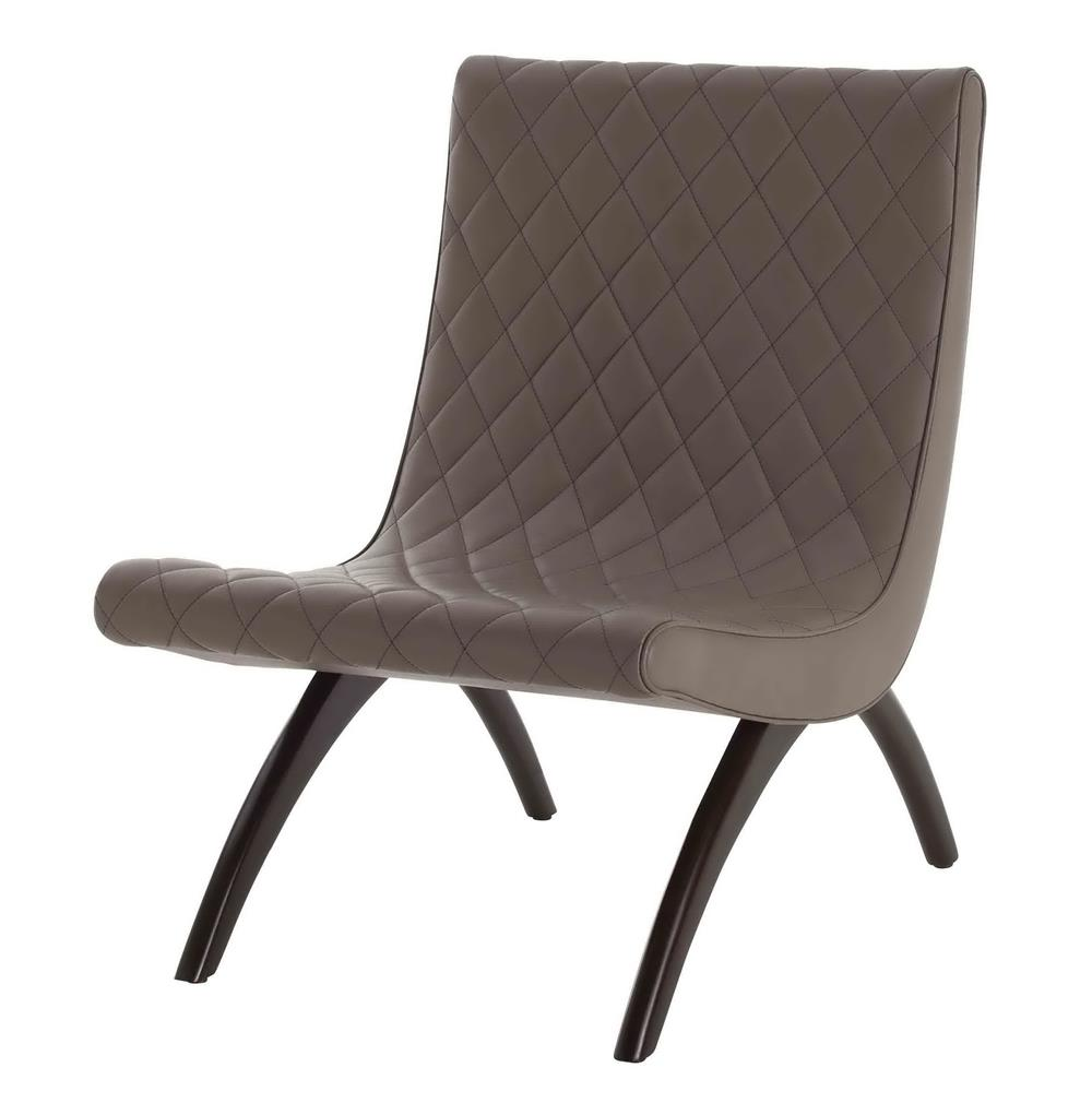 Danforth mid century modern dove quilted leather chair for Mid century modern leather chairs