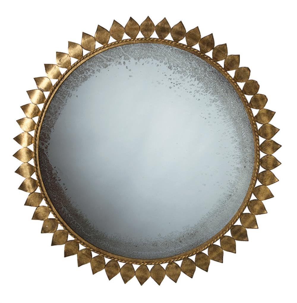 Farrah Modern Gold Leaf Metal Sunburst Antique Mirror