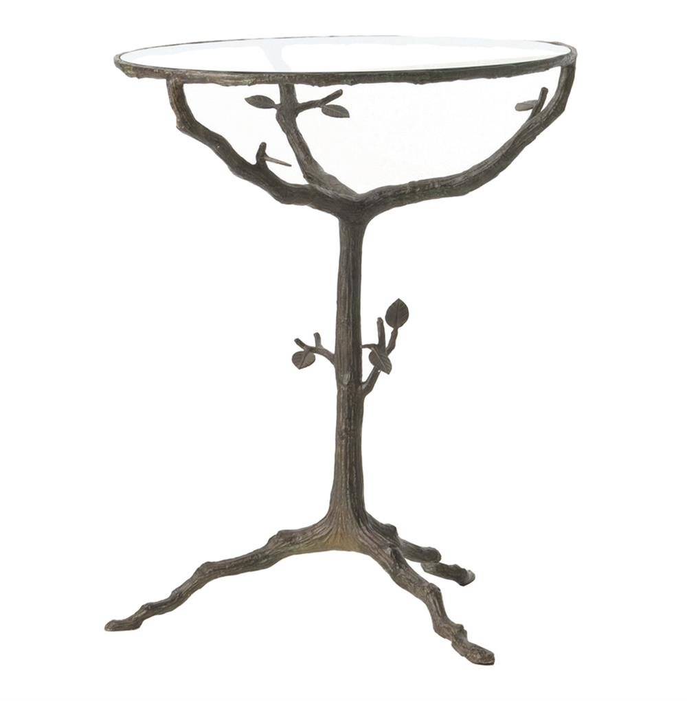 Tree Side Table ~ Sherwood sculpted tree branch bronze pedestal side accent