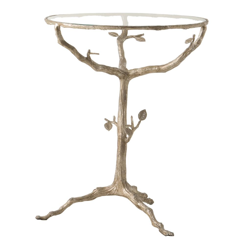 Tree Side Table ~ Sherwood sculpted tree branch light gold pedestal side table