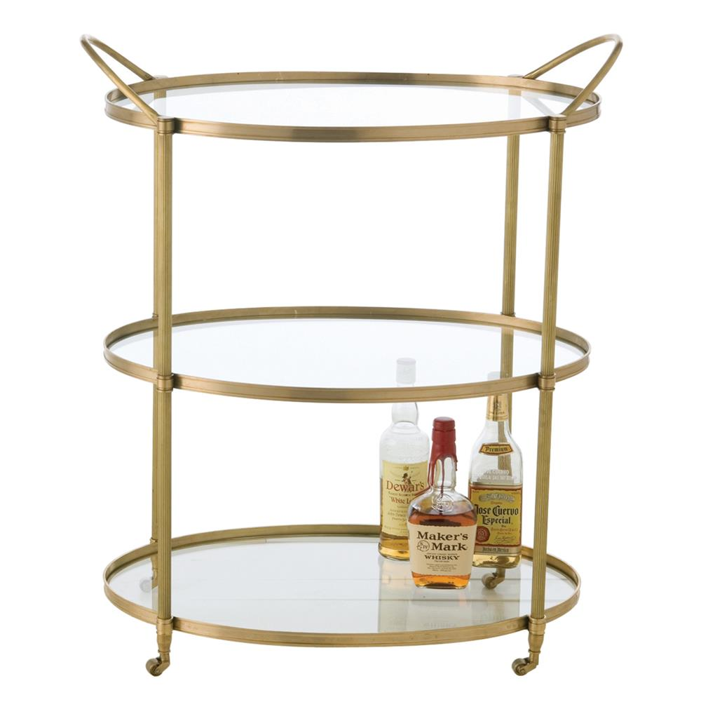 Connaught Antique Brass Oval Modern Bar Serving Cart Kathy Kuo Home