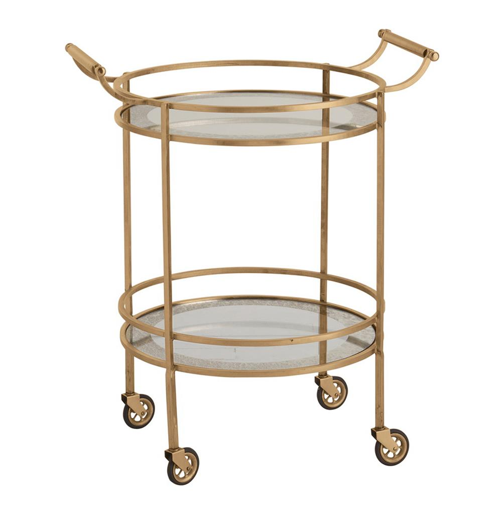 Wade Contemporary Art Deco Gold Glass Round Bar Cart