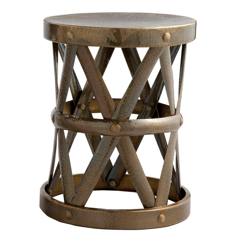 Costello Antique Brass Hammered Metal Open Accent Table