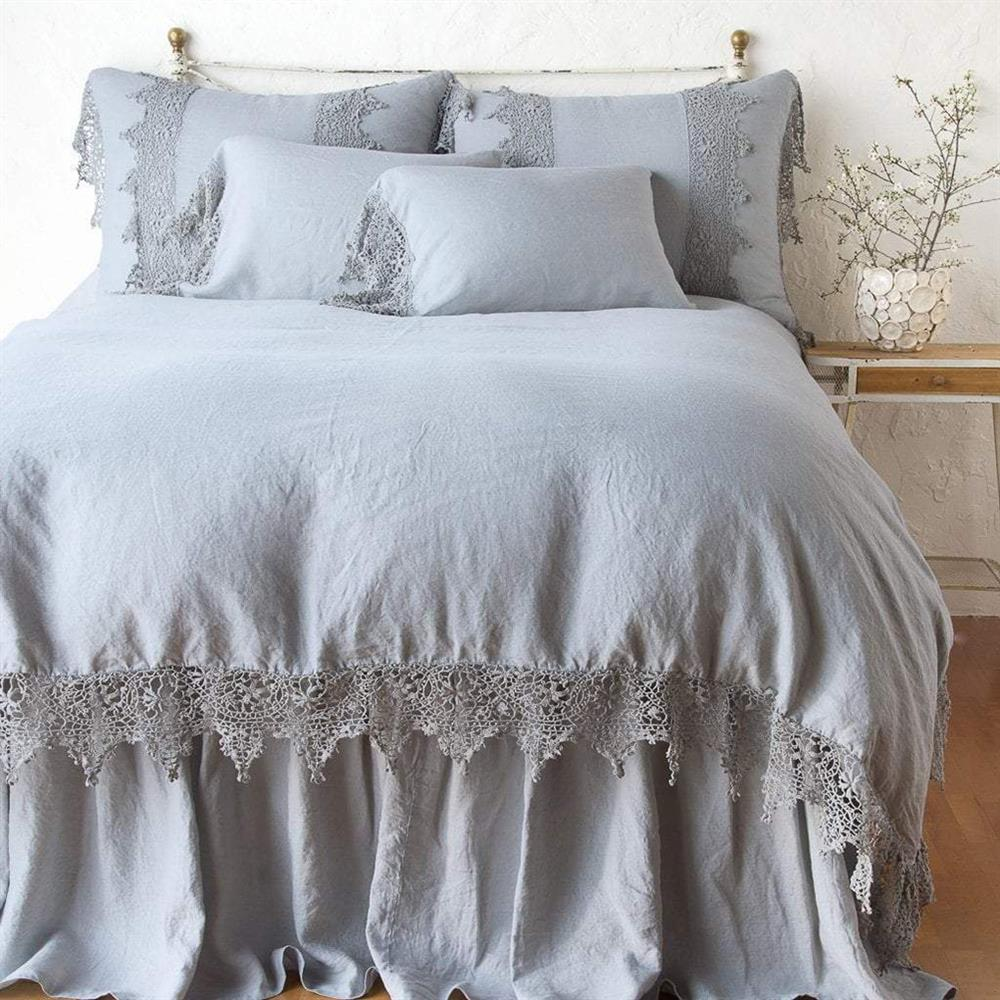Bella Notte Frida French Country Linen Lace Duvet Cover