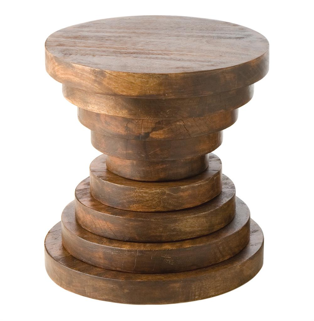 Modern Rustic Large Chunky Round Wood End Accent Table B