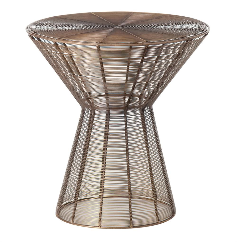 Iron Side Table ~ Elton modern wire iron mesh end side table kathy kuo home