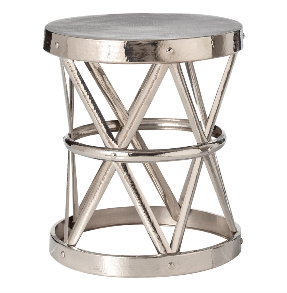 Costello polished nickel hammered metal open accent table for Accent end tables