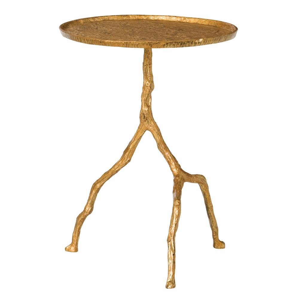 Iron Side Table ~ Forest park gold hammered iron branch sculpted side table