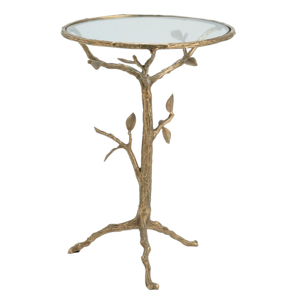 sherwood sculpted tree branch antique brass side table s